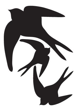 Samolepky siluet vlaštovek v setu na A4 (210x297mm)